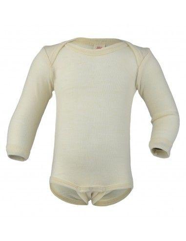 Body bebé a manica lunga in lana Merino