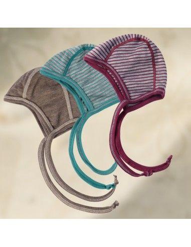 Cuffietta a righe in lana mista seta