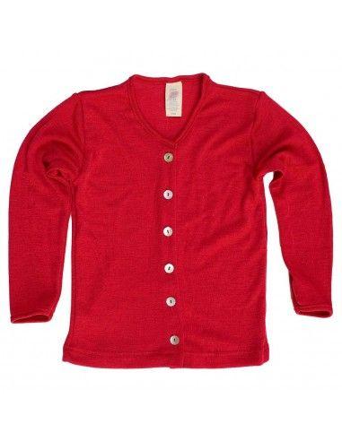 Cardigan in lana mista seta col. rosso
