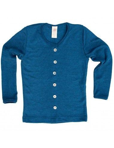 Cardigan in lana mista seta col. oceano