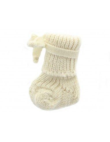 Calzino neonato in lana con laccetti