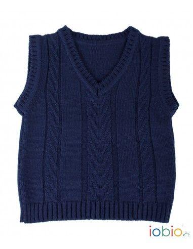 Gilet in lana Merino -col. blu scuro