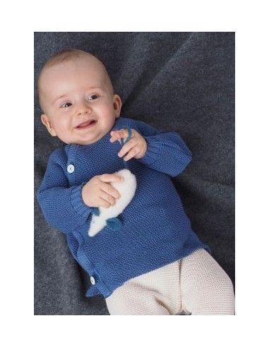 Pullover in lana Merino col. blu oceano