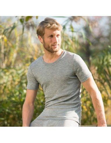 Maglietta uomo a manica corta in lana...