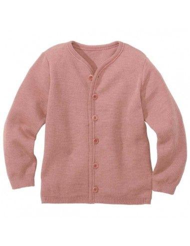 Cardigan in lana Merino- col. rosa