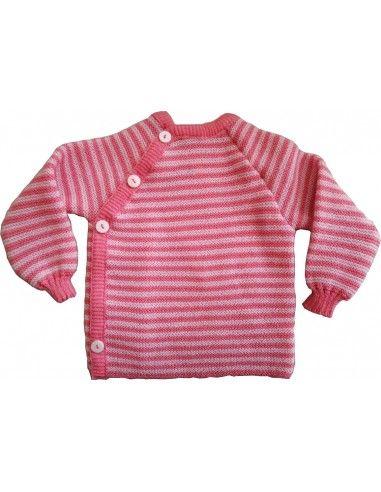 Pullover in lana Merino righe toni...