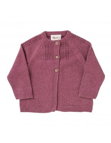 Cardigan baby in cotone - col. bacca