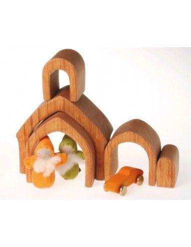 Set casa in legno naturale